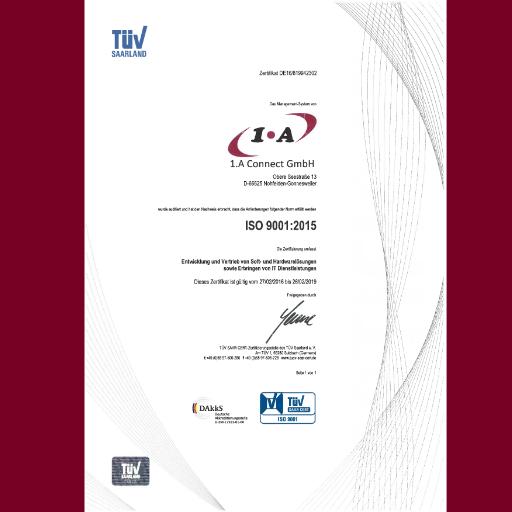 1.A Connect GmbH ISO 9001:2015 zertifiziert