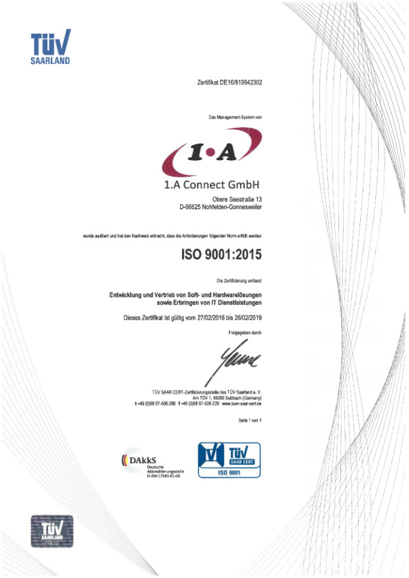 1.A Connect GmbH ISO 9001:2015 Zertifikat