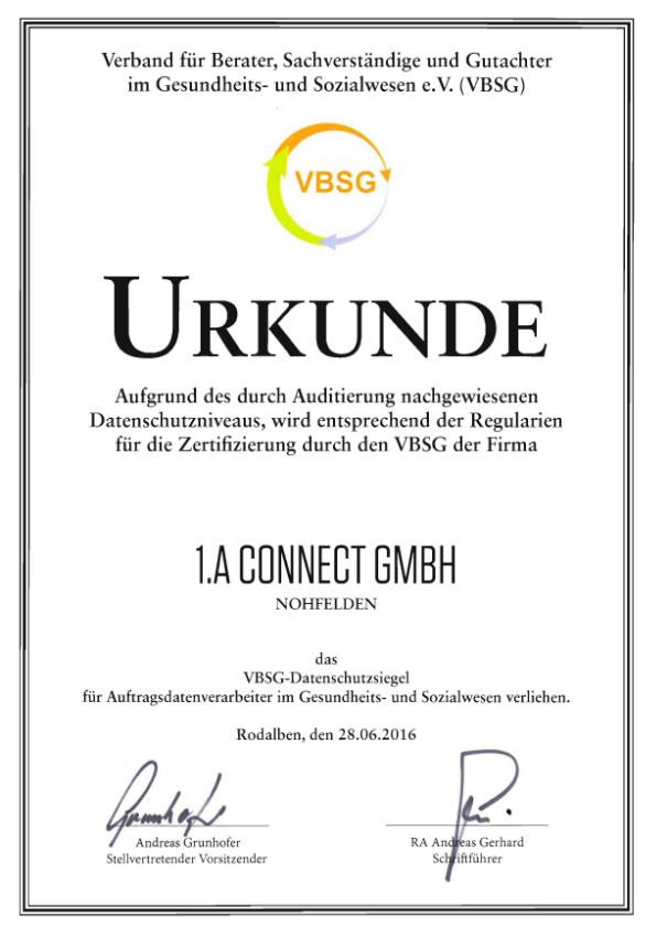 1.A Connect GmbH VBSG Datenschutz
