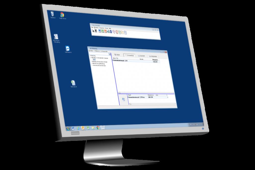 Monitor mit Archiv Desktop