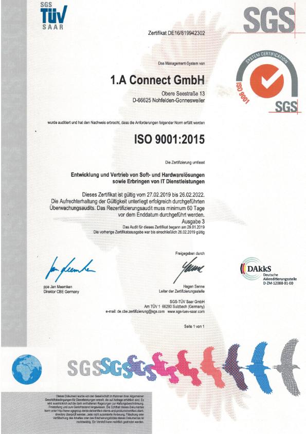 ISO 9001:2015 Urkunde